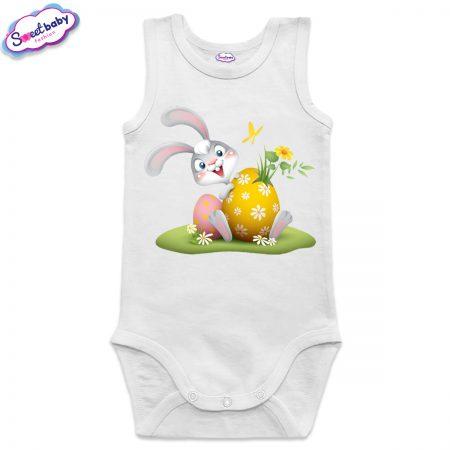 Бебешко боди Happy Easter зайко бяло