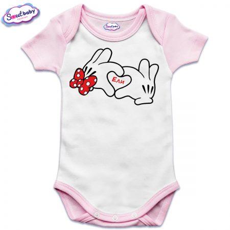 Бебешко боди US Ели в розово