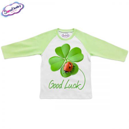 Блузка Good Luck зелено и бяло