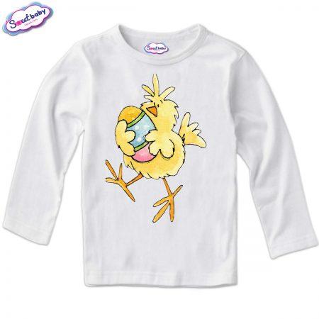 Детска блуза Пиле и яйце бяло