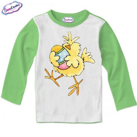 Детска блуза Пиле и яйце зелено