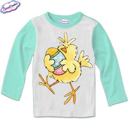 Детска блуза Пиле и яйце мента