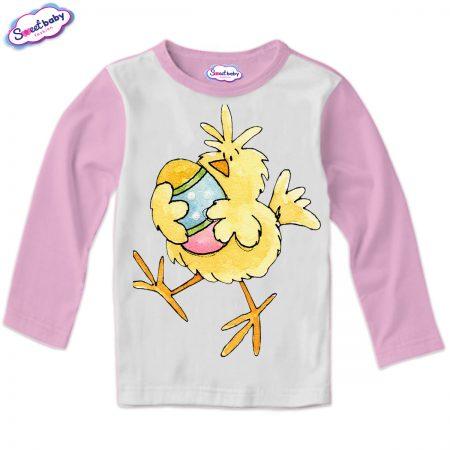 Детска блуза Пиле и яйце розово