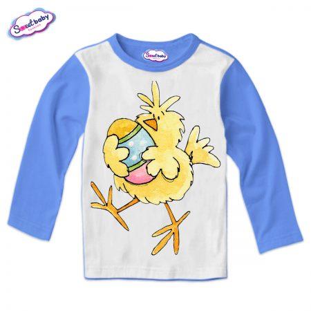 Детска блуза Пиле и яйце синьо