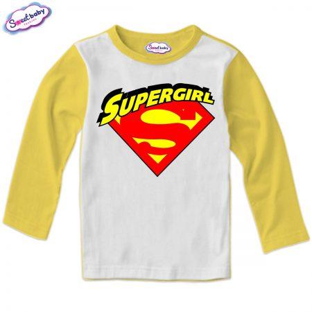 Детска блуза Supergirl в жълто бяло