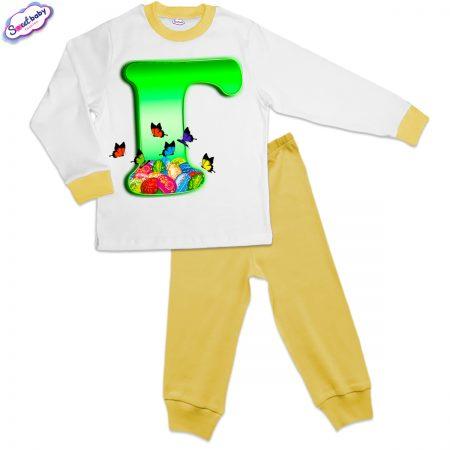 Детска пижама Великден Г жълто и бяло