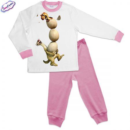 Детска пижама Сит с яйца розово