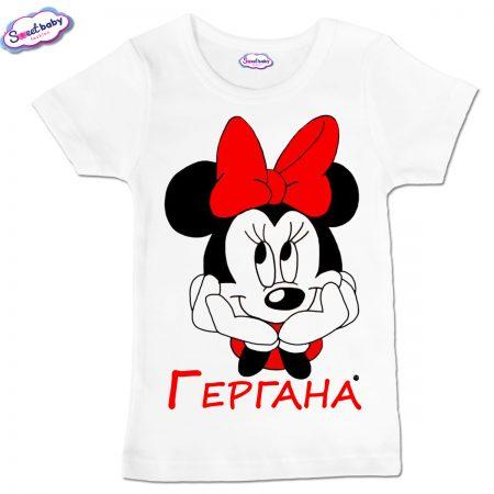 Детска тениска Гергана М в бяло