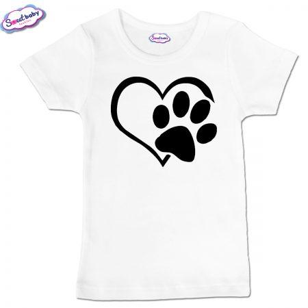 Детска тениска Лапичка в бяло