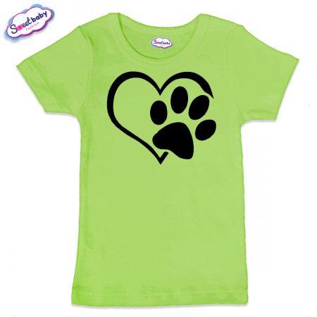Детска тениска Лапичка в зелено