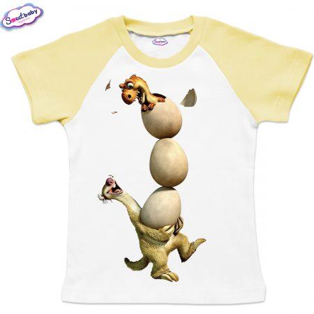 Детска тениска Сит с яйца бяло жълто