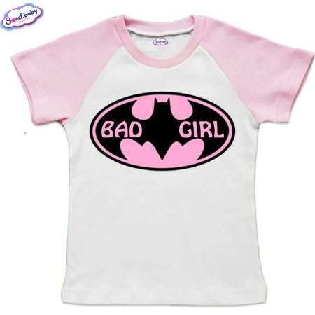 Детска тениска BadGirl бяло и розово