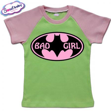 Детска тениска BadGirl в зелено розово