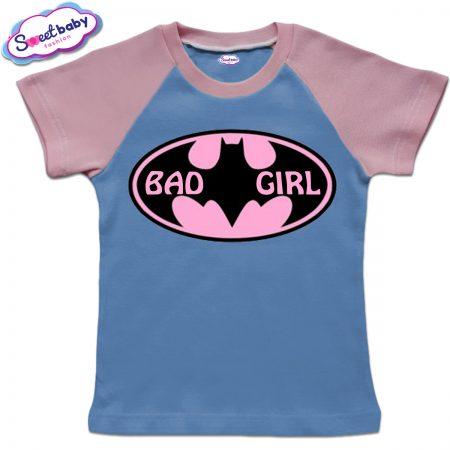 Детска тениска BadGirl синьо и розово