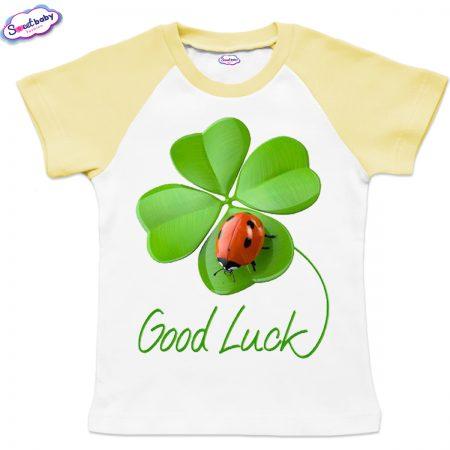Детска тениска Good Luck бяло жълто