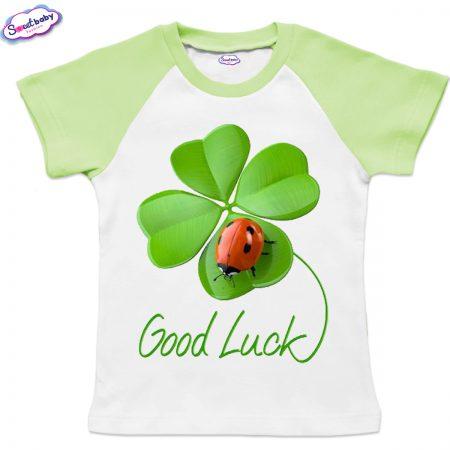 Детска тениска Good Luck бяло зелено