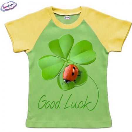 Детска тениска Good Luck зелено жълто