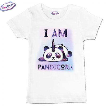 Детска тениска PANDICORN в бяло