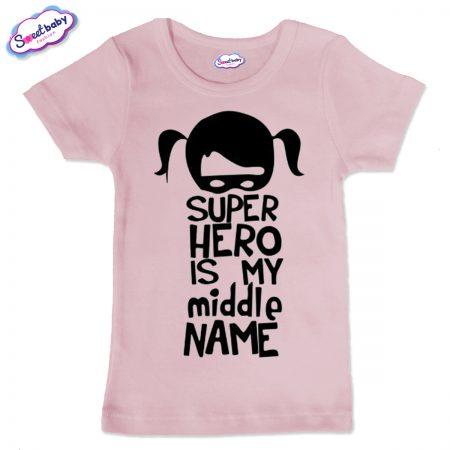 Детска тениска Super Hero в розово
