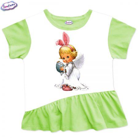 Детска туника Великденско ангелче харбала зелено