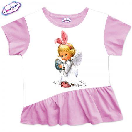Детска туника Великденско ангелче харбала розово