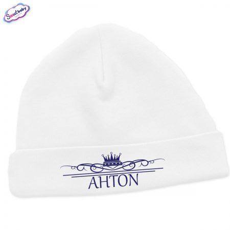 Бебешка шапчица Антон в бяло