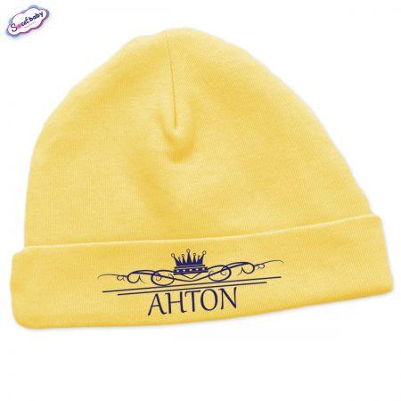 Бебешка шапчица Антон в жълто