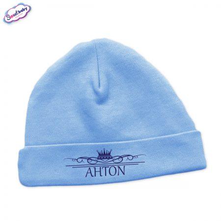 Бебешка шапчица Антон в синьо