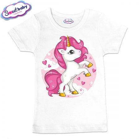 Детска тениска Розово еднорогче в бяло
