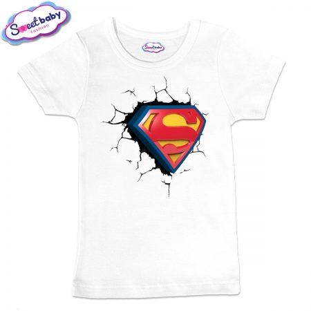 Детска тениска Супер сърце в бяло