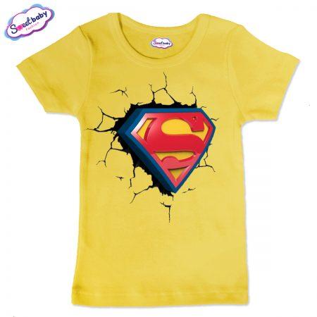 Детска тениска Супер сърце в жълто