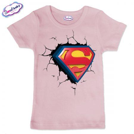 Детска тениска Супер сърце в розово