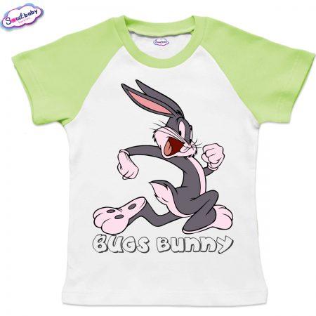 Детска тениска Bugs Bunny бяло зелено