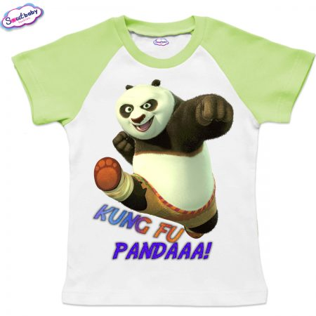 Детска тениска KungFu Panda бяло зелено