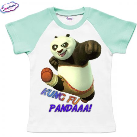 Детска тениска KungFu Panda бяло мента