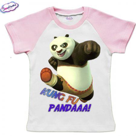 Детска тениска KungFu Panda бяло розово