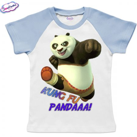 Детска тениска KungFu Panda бяло синьо