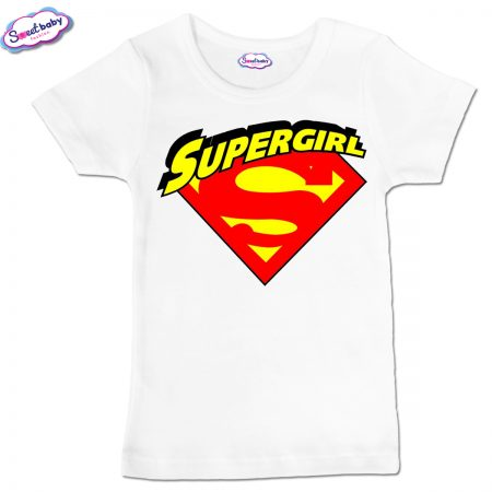 Детска тениска Supergirl в бяло
