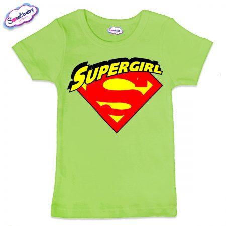 Детска тениска Supergirl в зелено