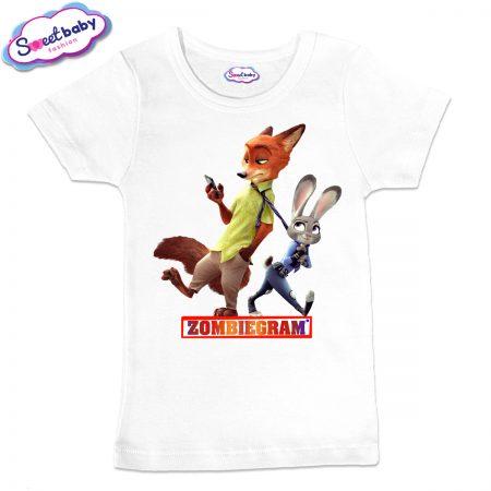 Детска тениска Zombigram в бяло