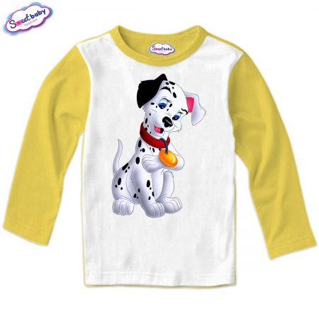 Детска блуза Далматинец жълто и бяло