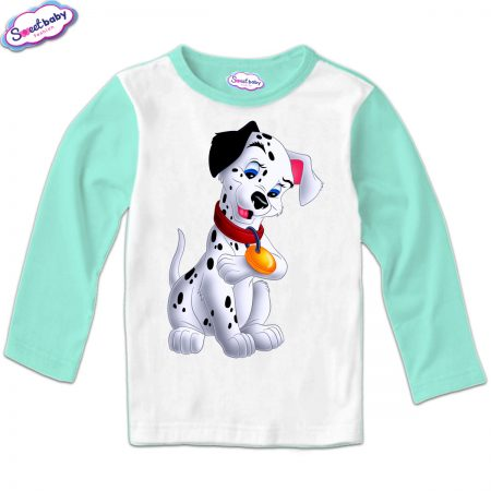 Детска блуза Далматинец мента и бяло