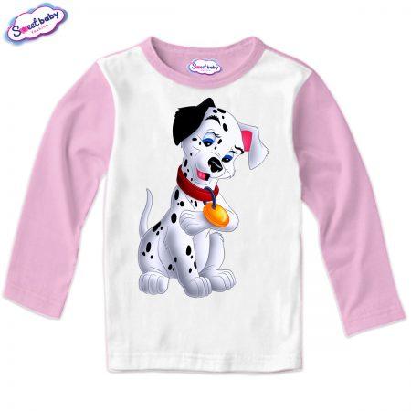 Детска блуза Далматинец розово и бяло