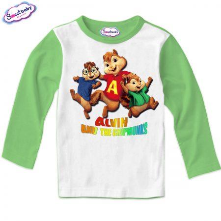 Детска блуза Катерички зелено и бяло