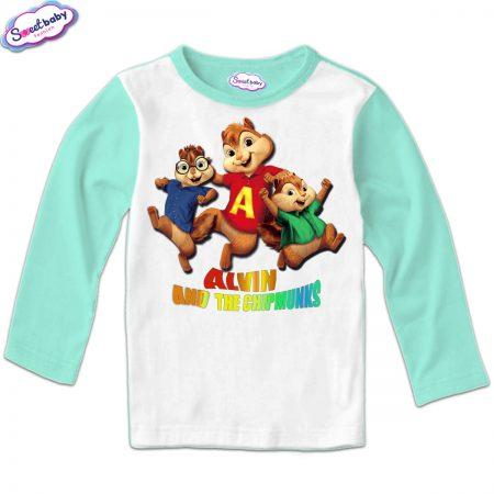 Детска блуза Катерички мента и бяло