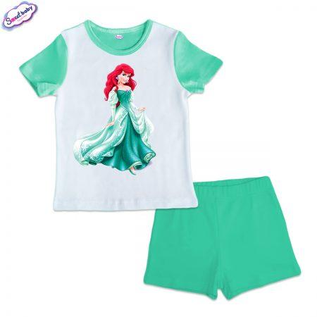 Детска пижама Ариел мента и бяло
