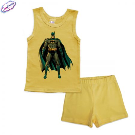 Детска пижама Батман с наметало панталонки жълто