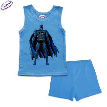Детска пижама Батман с наметало панталонки синьо