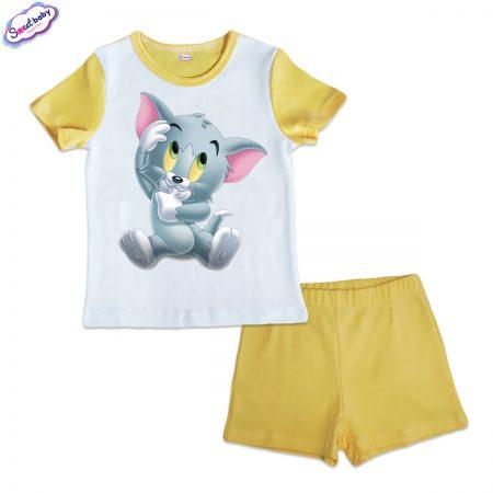 Детска пижама Бебе коте жълто бяло