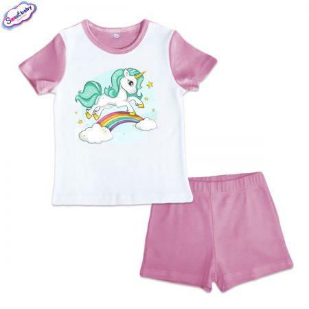 Детска пижама Еднорогче и дъга розово